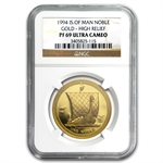 Isle of Man 1994 1 Oz Gold Proof Noble High Relief NGC PF-69 UC