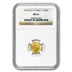 Turkey AH 1223/3 (1810) 1/4 Zeri Mahbub Gold Coin NGC MS-61