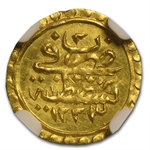 Turkey AH 1/4 Zeri Mahbub Gold Coin NGC MS-62