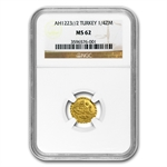 Turkey AH 1/4 Zeri Mahbub Gold Coin MS-62 NGC