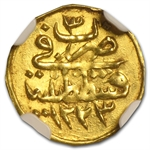 Turkey AH 1/4 Zeri Mahbub Gold Coin NGC MS-63