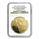 Great Britain 2001 5 Pounds Gold Proof Victoria NGC PF-69 UCAM