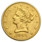 1849 $10 Liberty Gold Eagle - VF Details - Cleaned