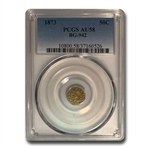 1873 BG-942 Indian Octagonal 50 cent Gold AU-58 PCGS