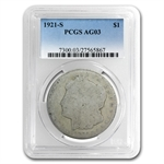 1921-S Morgan Dollar - AG-3 PCGS - Low Ball Registry Coin
