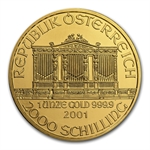 2001 1 oz Gold Austrian Philharmonic - Brilliant Uncirculated