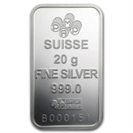 20 gram Pamp Suisse Silver Bar - Rosa (In Assay)