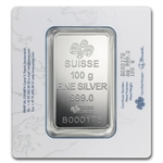 100 gram Pamp Suisse Silver Bar - Rosa (In Assay)