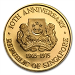 Singapore 1975 $250 .999 Gold Coin Independence