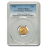 1903 $1.00 Gold Louisiana Purchase - McKinley MS-64 PCGS