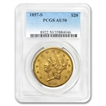 1857-S $20 Gold Liberty Double Eagle - AU-50 PCGS