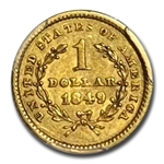 1849 $1 Liberty Head Gold - Closed Wreath With L - AU-55 PCGS