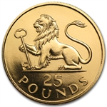 Gibraltar 1975 Gold 25 Pounds Lion & Key