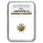 1914 Indian Round Quarter Montana Gold MS-67 NGC