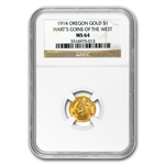 1914 Indian Round One Dollar Oregon Gold MS-64 NGC