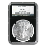 1999 Silver American Eagle - MS-69 NGC - Retro Black Insert