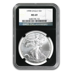 1998 Silver American Eagle - MS-69 NGC - Retro Black Insert
