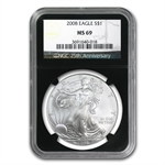 2008 Silver American Eagle - MS-69 NGC - Retro Black Insert