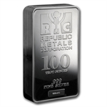 100 oz Republic Metals Corp. Silver Bar .999 Fine