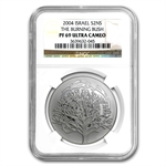 2004 Israel The Burning Bush Silver 2 NIS PF-69 NGC UCAM