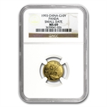 1993 (1/10 oz) Gold Chinese Pandas - MS-69 NGC Small Date
