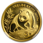 1990 (1/20 oz) Gold Chinese Pandas - Large Date MS-68 NGC