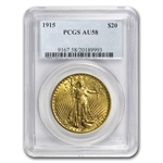 1915 $20 St. Gaudens Gold Double Eagle - AU-58 PCGS