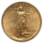 1908-D $20 St. Gaudens Gold - With Motto - AU-58 PCGS