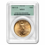 1911-D $20 St. Gaudens Gold Double Eagle - MS-62 PCGS