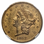 1852 $20 Gold Liberty Double Eagle - AU-53 NGC