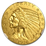 1914 $5 Indian Gold Half Eagle - AU-58 NGC