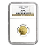 1984 (1/10 oz) Gold Chinese Pandas - MS-68 NGC