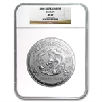 2000 1 Kilo Silver Lunar Year of the Dragon (Series I) MS-69 NGC