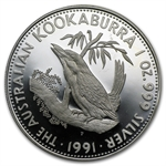 1991 1 oz Proof Silver Australian Kookaburra - Light Abrasions