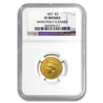 1857 $3 Gold Princess - Extra Fine Details - NGC - (Cleaned)