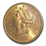 1881-S $20 Gold Liberty Double Eagle - MS-61 PCGS
