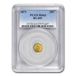 1871 BG-859 Liberty Round 25 Cent Gold MS-63 PCGS