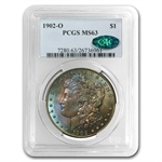 1902-O Morgan Dollar MS-63 PCGS Blue and Purple Toning - CAC