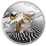 Fiji 2013 Silver Dogs & Cats Series - Wild Cat - Felis Margarita