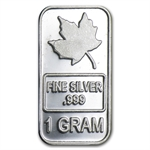 1 gram Maple Leaf Silver Bar .999 Fine