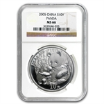 2005 Silver Chinese Panda 1 oz - MS-66 NGC