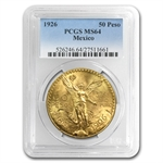 Mexico 1926 50 Pesos Gold Coin - MS-64 PCGS
