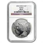 2002 Silver Chinese Panda 1 oz - MS-67 NGC