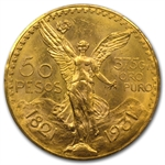 Mexico 1931 50 Peso Gold Coin PCGS MS-63