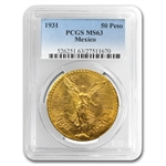 Mexico 1931 50 Pesos Gold Coin - MS-63 PCGS