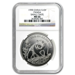 1990 1 oz Silver Chinese Panda - MS-66 NGC -Small Date