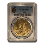 Mexico 1928 50 Pesos Gold Coin - MS-63 PCGS (Secure Plus!)