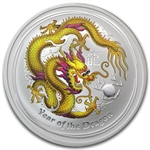 2012 1 oz Silver Year of the Dragon Yellow Colorized Coin