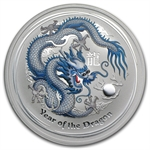 2012 1 oz Silver Year of the Dragon White Colorized Coin