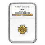 Turkey AH 1/4 Zeri Mahbub Gold Coin NGC MS-64